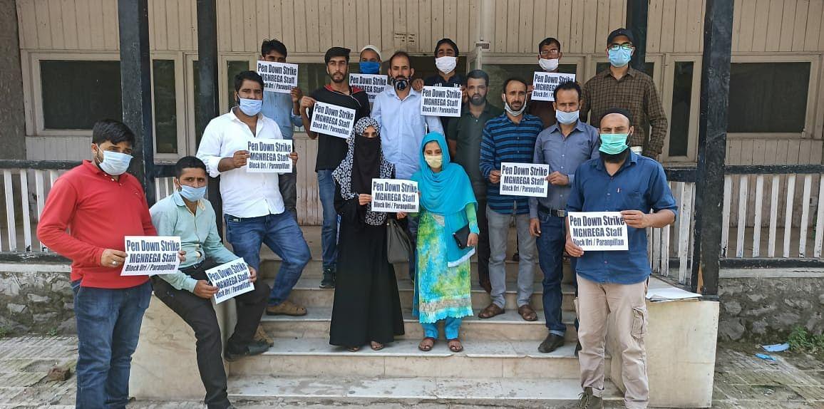 Contractual MGNREGA employees hold protest in Uri, demand job policy