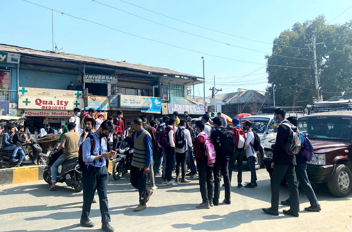 11th standard students protest in Sopore, demand mass promotion