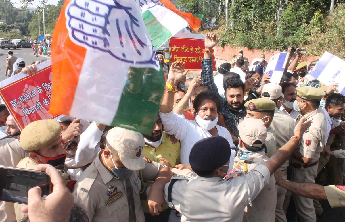Congress stages protest in Jammu against new land laws for JK