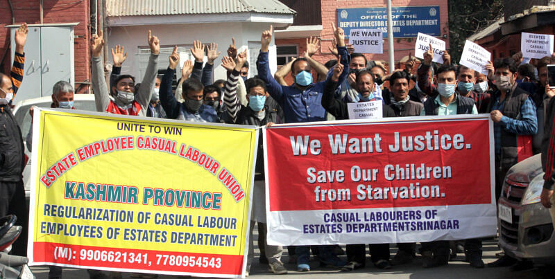 Casual employees of Estates Department stage protest