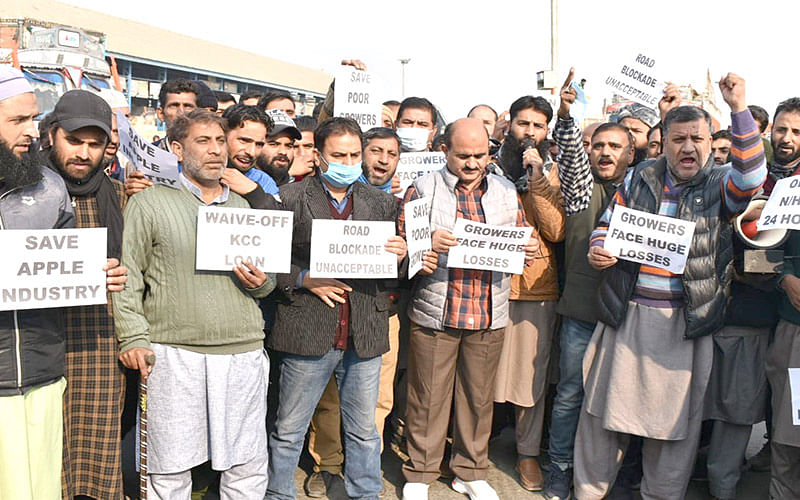 Sopore fruit traders protest
