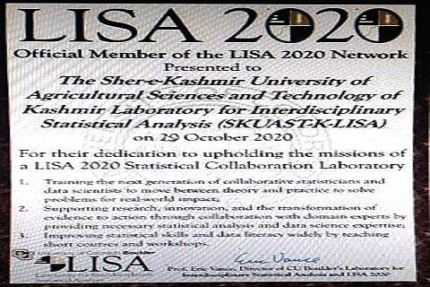 SKUAST-K becomes official member of LISA 2020