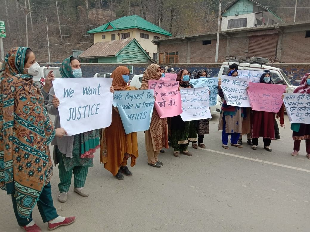 Wives of former militants protest in Kupwara, demand dignified rehabilitation