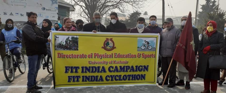 Kashmir University VC flags off 'Fit India Cyclothon'