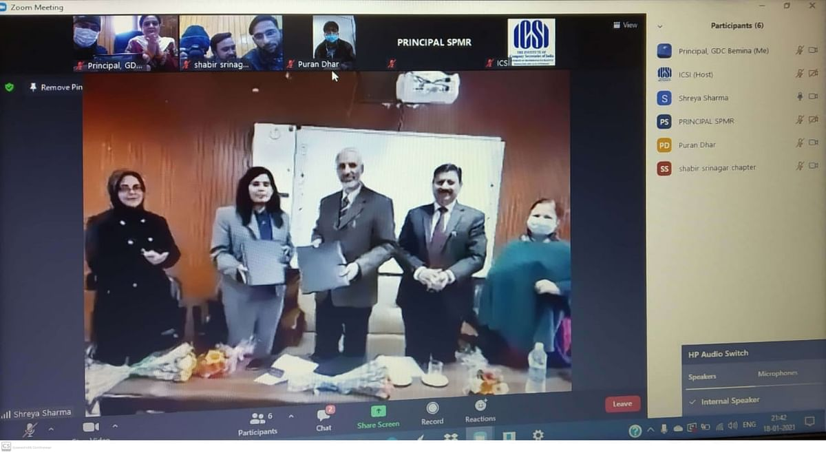 J&K govt signs MoU with ICSI for up-skilling of college students