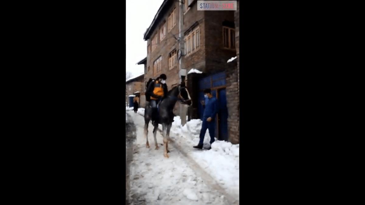 Video: Amazon boy delivering parcels on horseback in snow-clogged Srinagar wins hearts