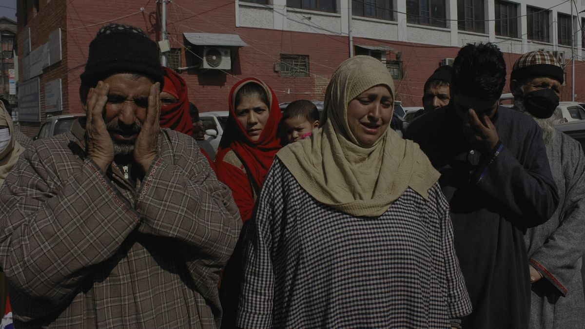 Family of alleged TRF militant Zahoor Rather holds protest in Srinagar, contests police version