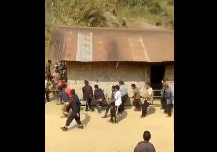 Watch: Nagas prove 'unity is strength', shift hut by lifting it up manually