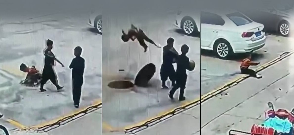 Watch: Chinese kids sent flying after manhole explosions, netizens worried