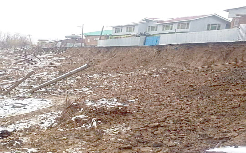Road collapses in Sopore due to heavy rains