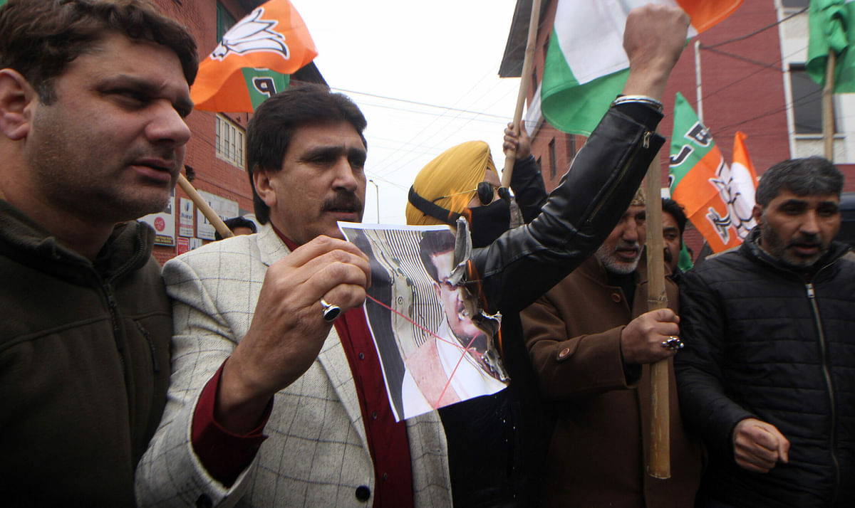 J&K BJP protests against Waseem Rizvi's blasphemous move for 2nd straight day