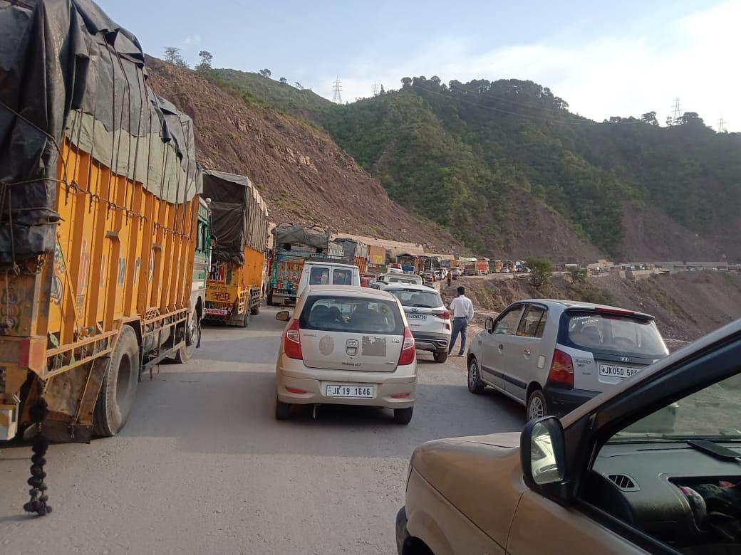 Traffic jams on highway