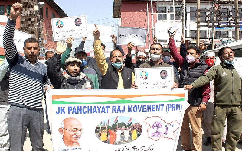 JK Panchayat Raj Movement stages protest, demand more powers