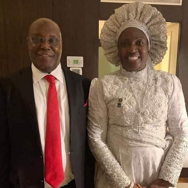 Ajayi, husband and a guest at the wedding in New York