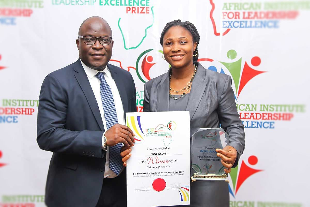 Organisation and Methods Executive Mrs Ngozi Odukwe, receiving the award for WSI-Axon