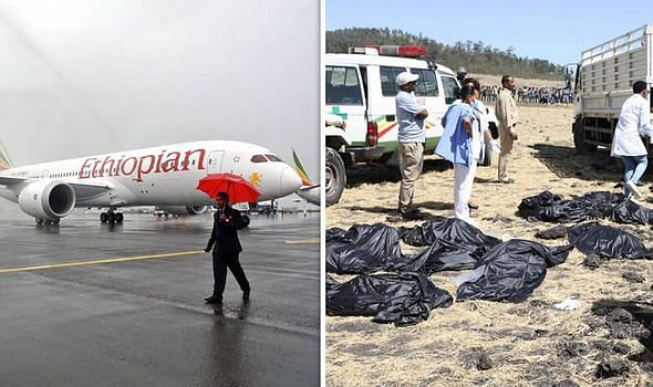 The crash site of Ethiopian Airlines