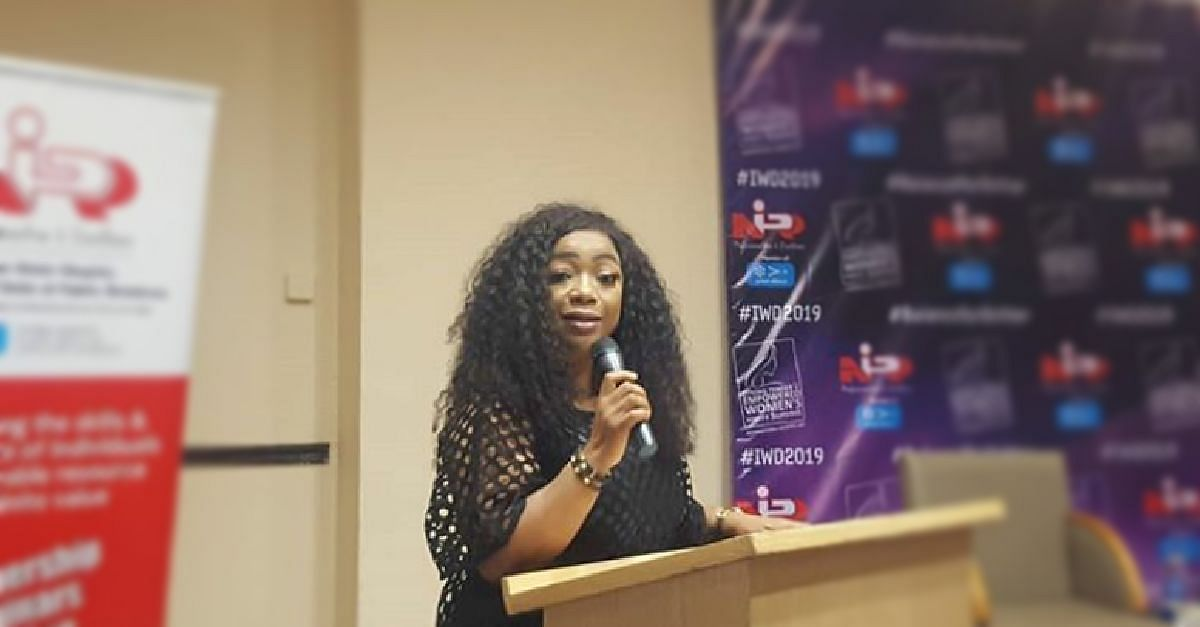 Bimbo Akintola speaking at the event