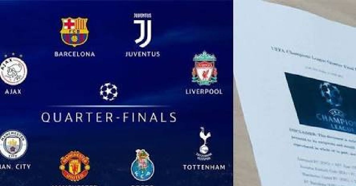 See The 2018/2019 UEFA Champions League Quarter Finals Draw List In Full
