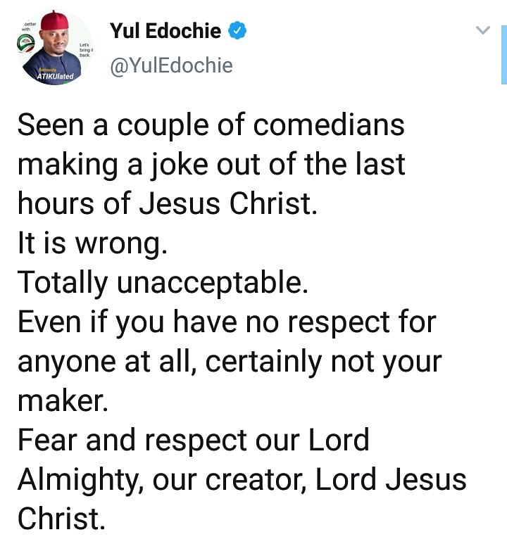 Actor, Yul Edochie, Bashes Comedians Who Made Jokes About Jesus' Final Hours