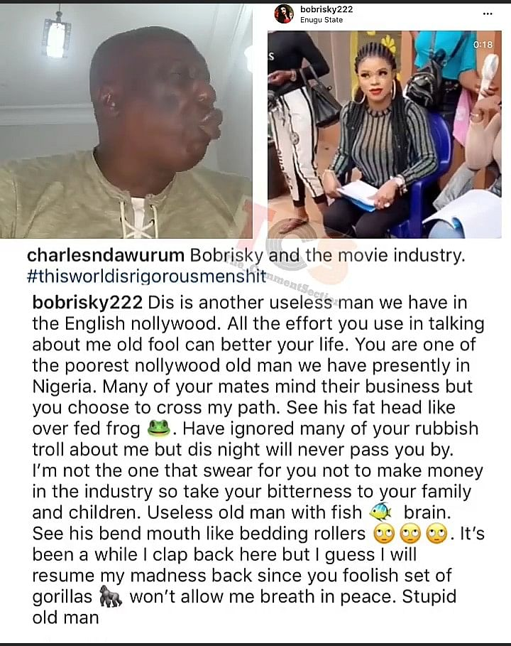 Bobrisky Bombards Veteran Nollywood Actor Charles Awurum with Insults