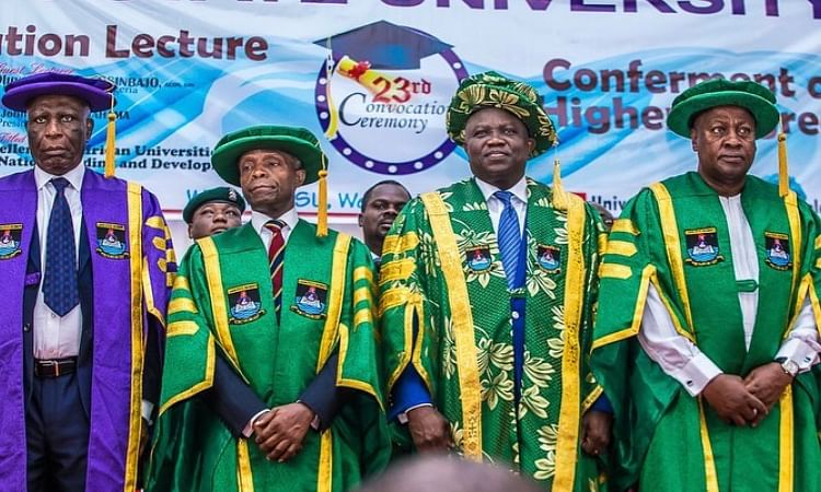 Osinbajo, Mahama, Ambode, Sanwo-Olu Attend LASU Convocation