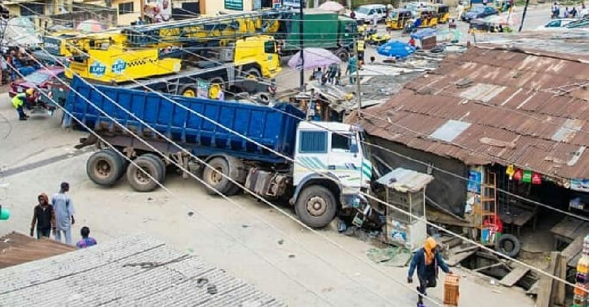 Truck Crashes Into Shops After Brake Failure In Iyana-Isolo