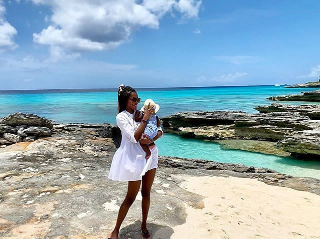 Agbani Darego with son at the beach