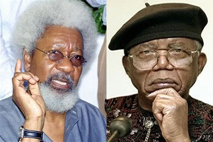 Professor Wole Soyinka and the young man, 'Bobo Fine'