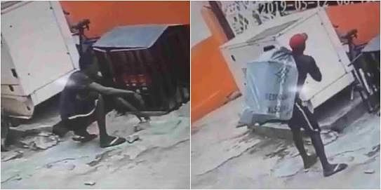 Watch! CCTV Footage Captures Man Stealing Generator With A Bag