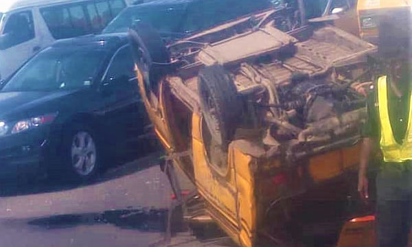 Commercial Bus Somersaults On Third Mainland Bridge