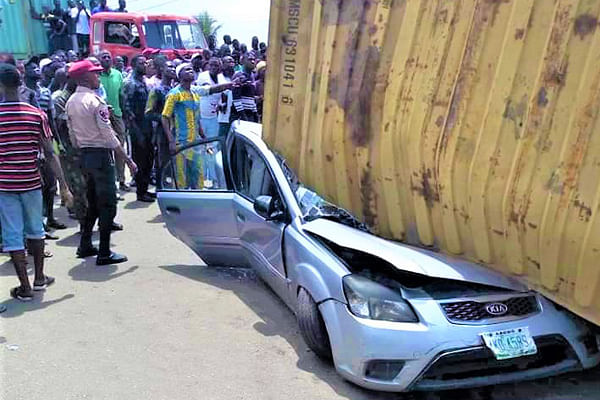 Container Falls On A Car In Mile 2, Kills One, Leaves Another Injured
