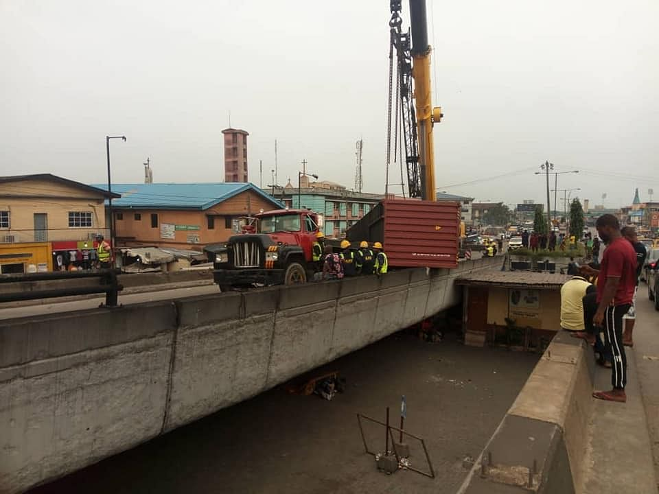 The container that fell from Ojuelegba bridge