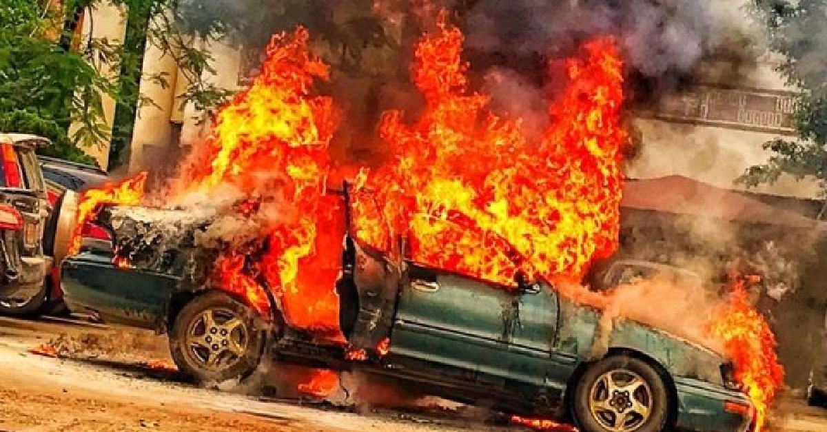 Car engulfed in flames