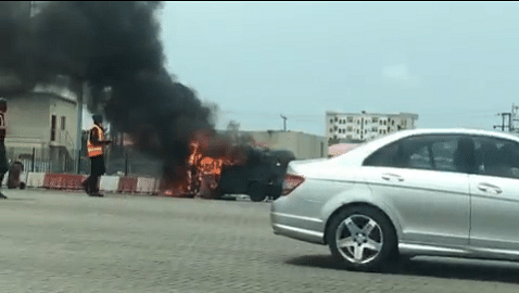 Volkswagen Jeep Burnt At Lekki Toll Gate