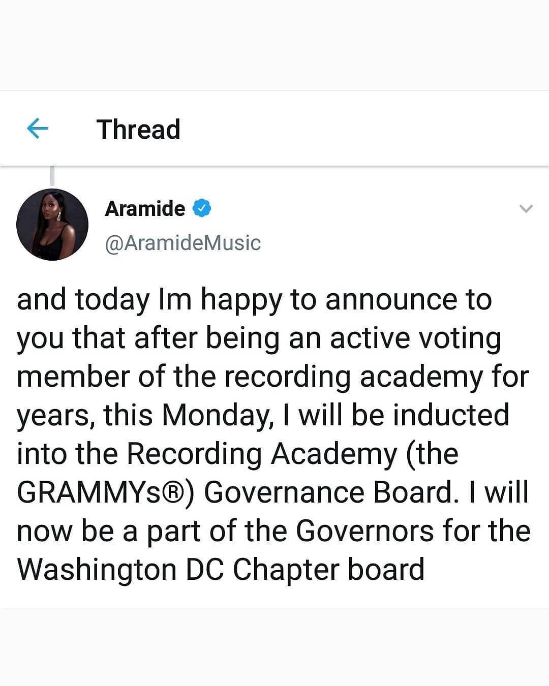 Singer Aramide To Be Inducted Into GRAMMYS Governance Board
