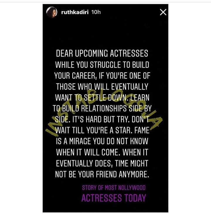 Actress Ruth Kadiri Reveals Shocking Reason Nollywood Actresses  Are Unmarried