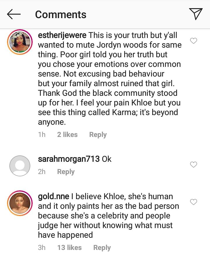 Nigerians React To Khloe Kardashian's Apology To Tristan's Ex