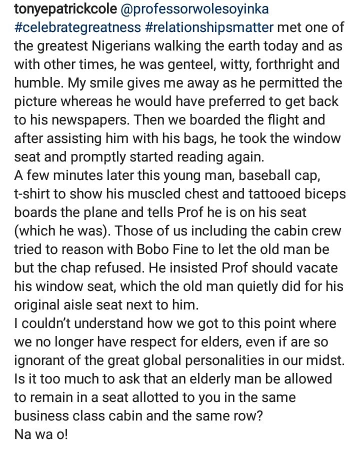 Young Man Who Asked Prof. Wole Soyinka To Get Up From His Window Seat Speaks