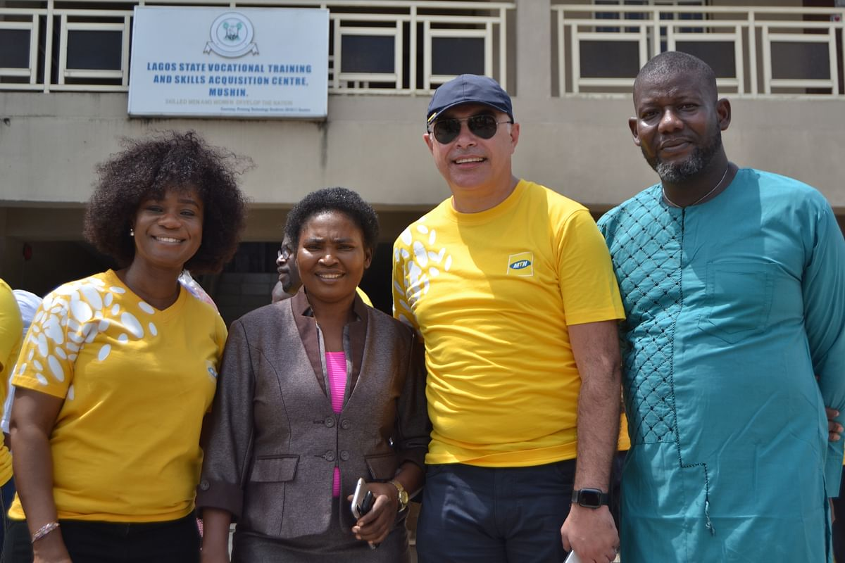 L-R: Company Secretary, MTN Nigeria, Uto Ukpanah; Director under the Ministry of Women Affairs & Poverty Alleviation Lagos, Omotola Popoola; Chief Operating Officer, MTN Nigeria, Mazen Mroue  and Principal, Skill acquisition Center, Mushin, Olatunji Olumide at the Skill acquisition center, Mushin on Monday the 17th of June 2019 where MTN Nigeria empowered students with digital skills to help improve their craft and also present equipment to the center as part of the activities lined up for this year's 21 Days of Y'ello Care campaign