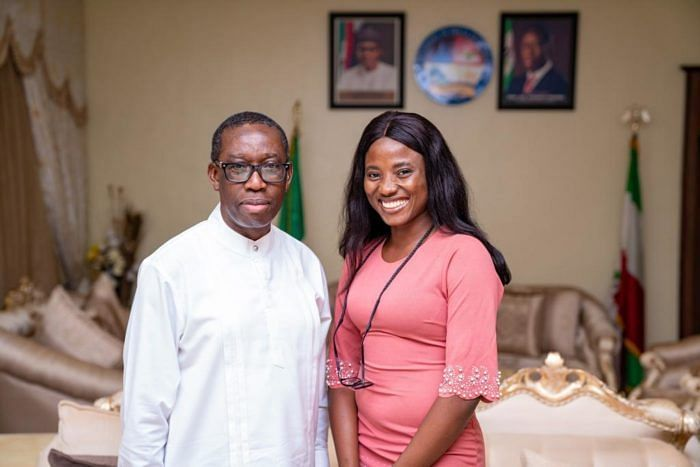 Governor Okowa and Veronica Abang