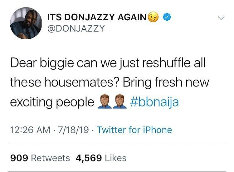 Don Jazzy, Other Nigerians Lose Interest In The New BBN Pepper Dem