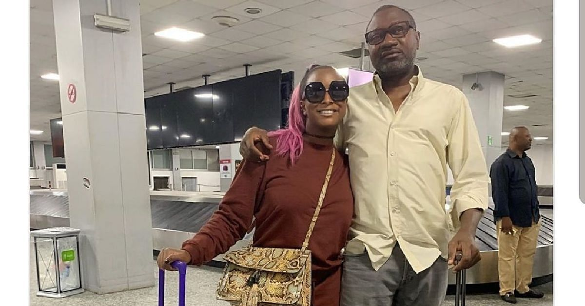 Otedola and daughter on arrival