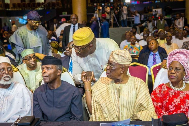 Abubakar, Osinbajo, Osoba, and wife, Derin