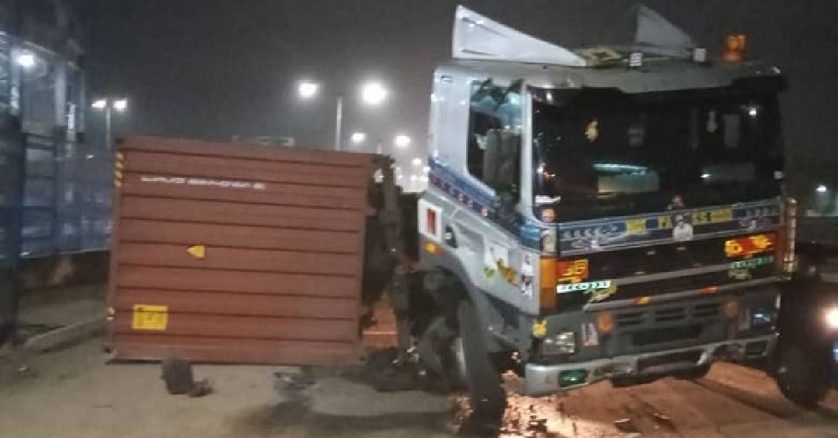 40-Feet Container Falls On Oshodi Oke Bridge