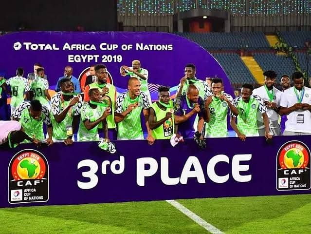Nigeria celebrating after receiving their 3rd place medals