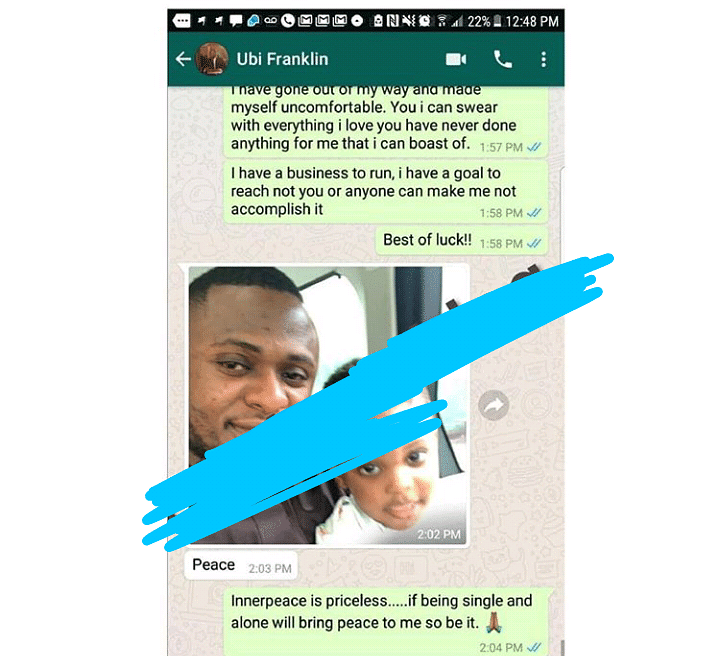 Leaked Chats Between Ubi Franklin And His Recent Baby Mama  Surface