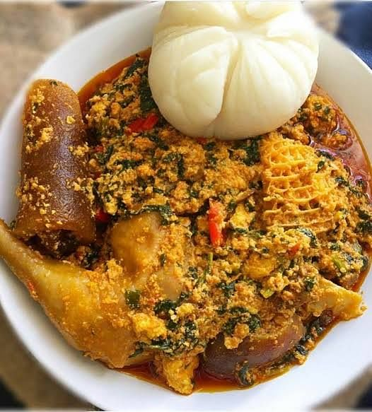 Delicious Pounded Yam and Egusi soup, a Nigerian delicacy