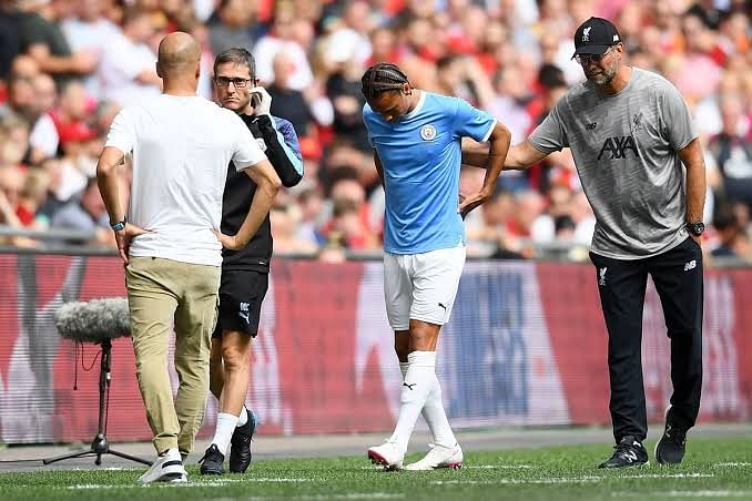 Sane injured during the community shield against Liverpool