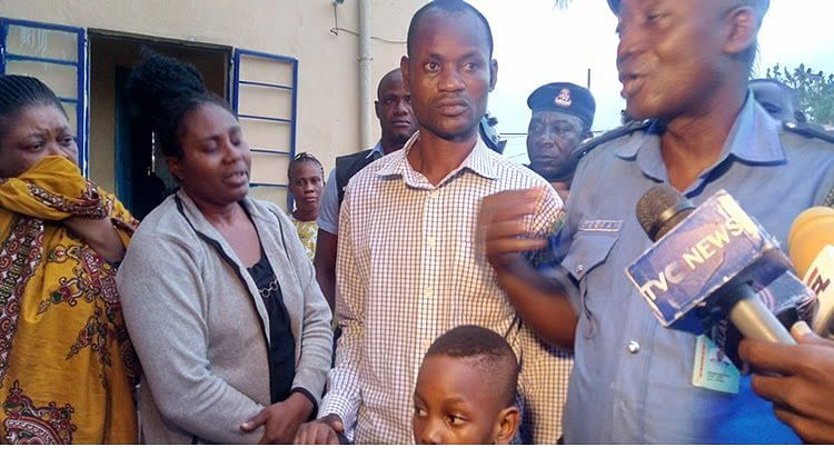 The boy with his father and the two suspects (Adoptive mom, Ozor and Ifeoma Joy)