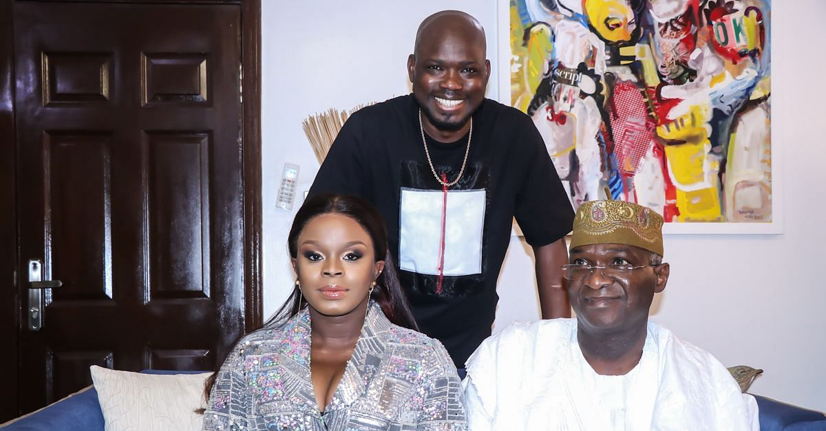 Fashola with the celebrant and husband
